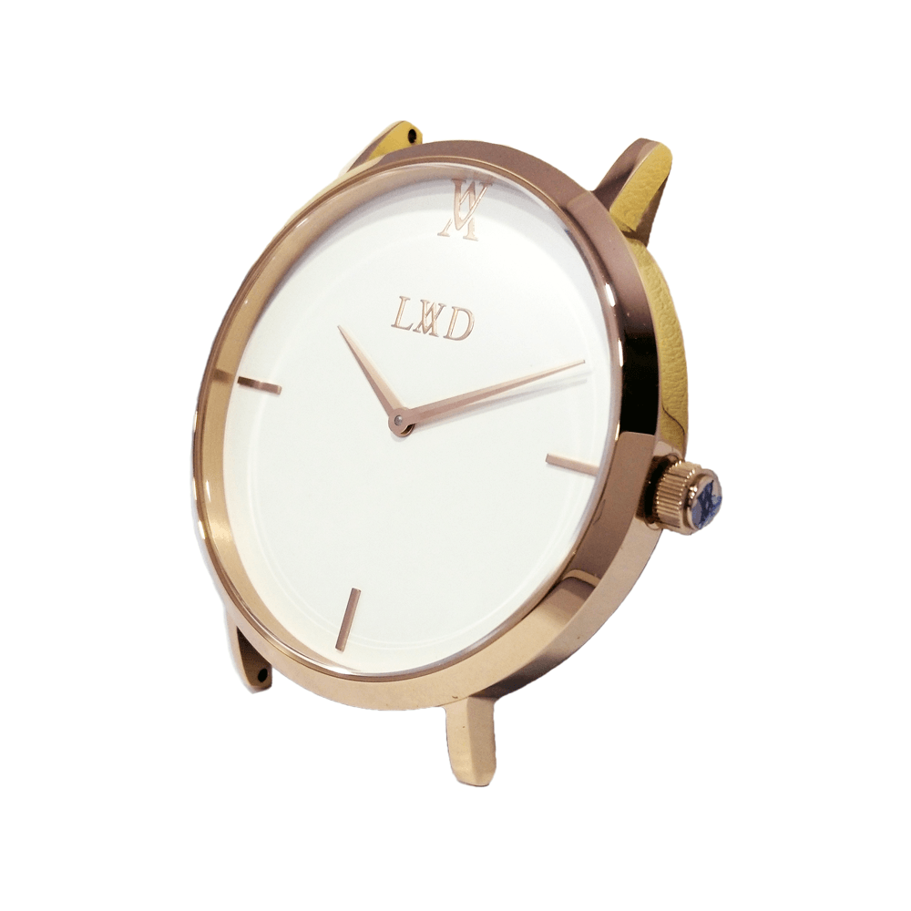 Minimal rose gold watch with white dial