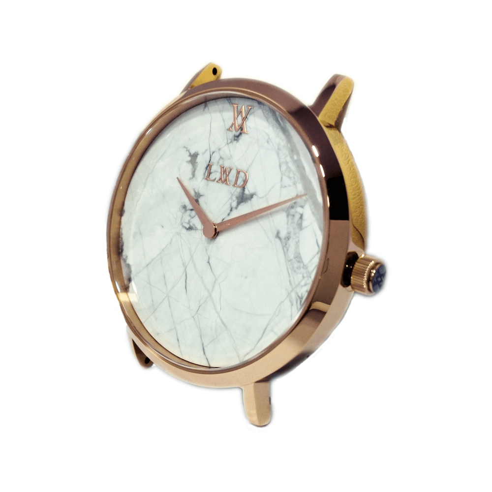 rose gold case with white marble dial watch with nude pink strap