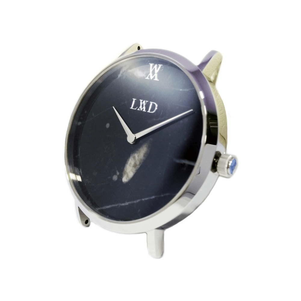 Real black marble silver minimalist watch