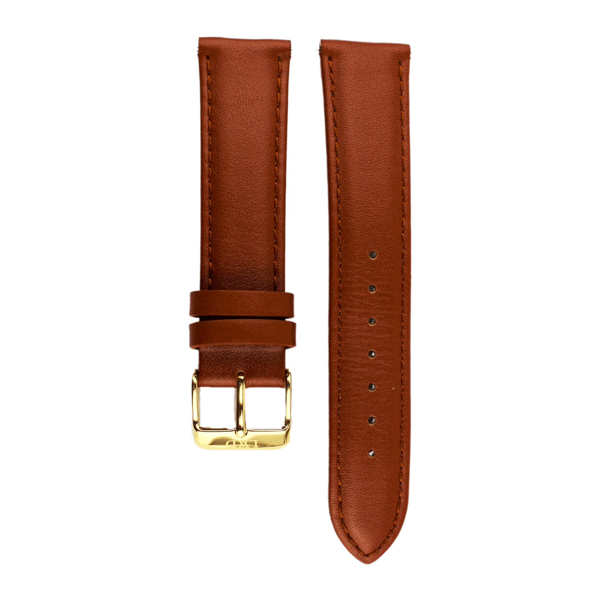 brown Leather Interchangeable watch strap with monogram