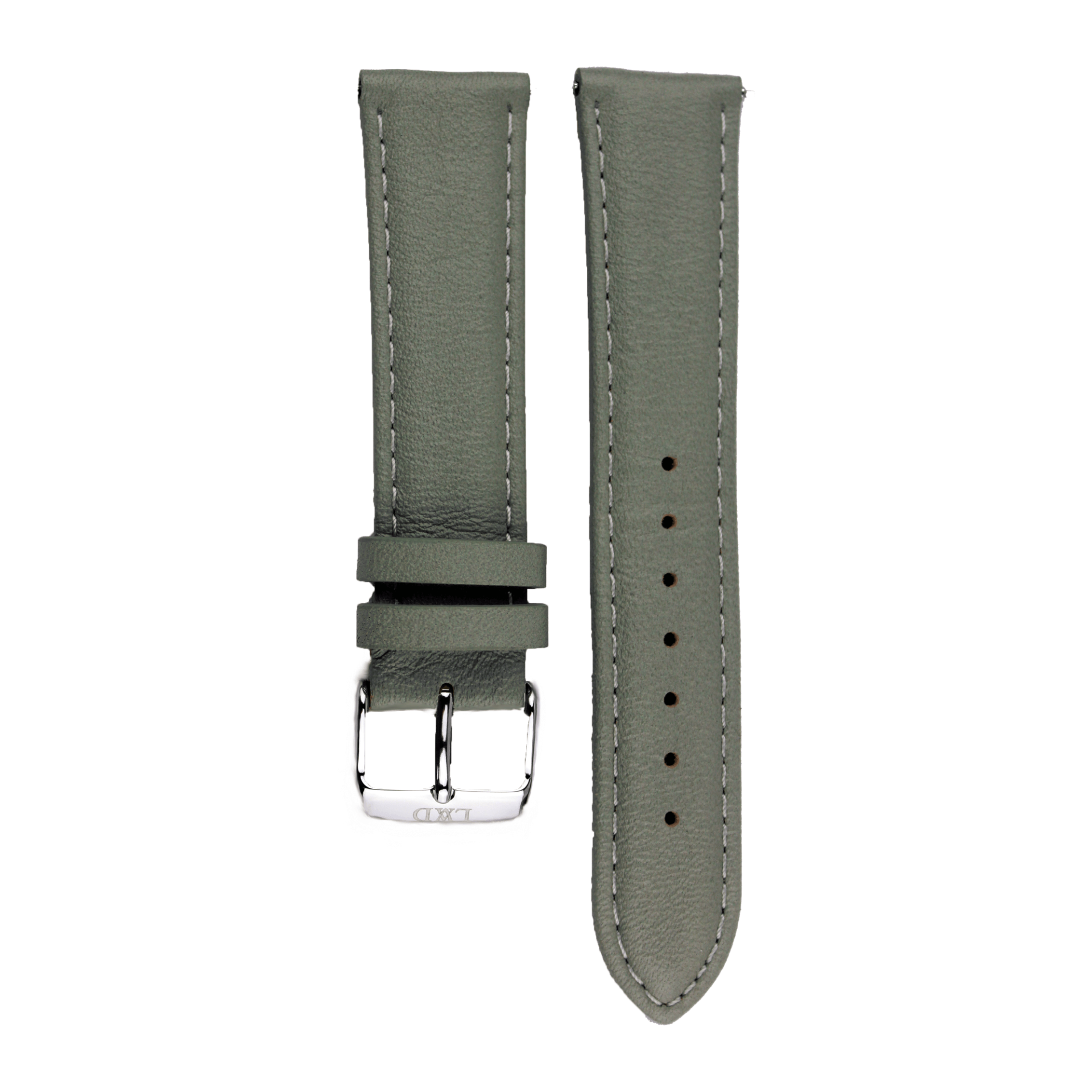grey Leather Interchangeable watch strap with monogram
