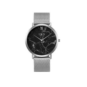 Real black marble silver minimalist watch with silver stainless steel mesh strap