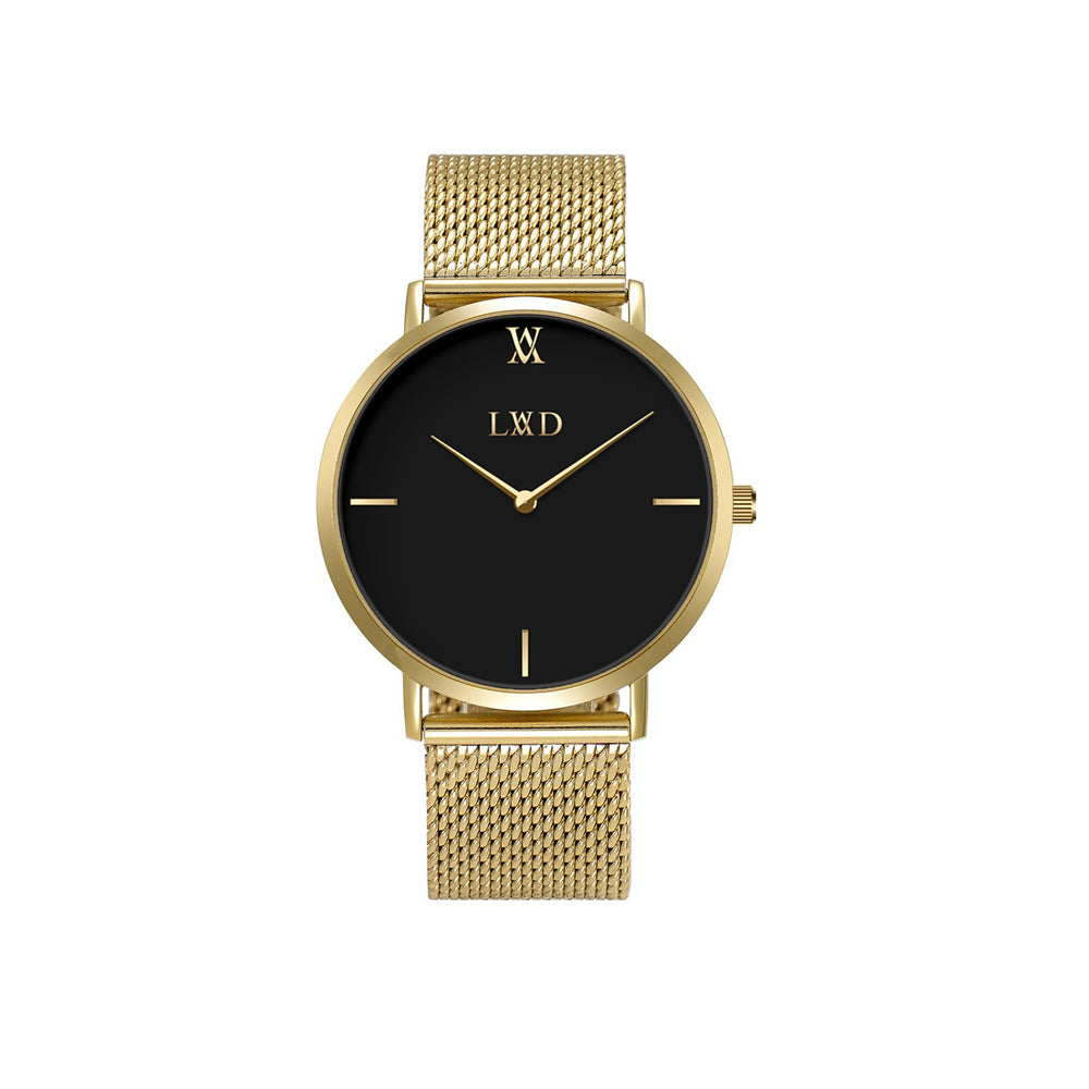 gold minimalist watch with black dial and gold stainless steel mesh strap