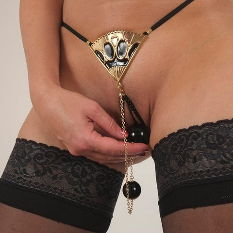 Beautiful Fan G-String with Dual Insertable Orbs - ThongsAndMore