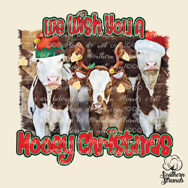 We Wish You a Mooey Christmas Cow Sublimation Transfer