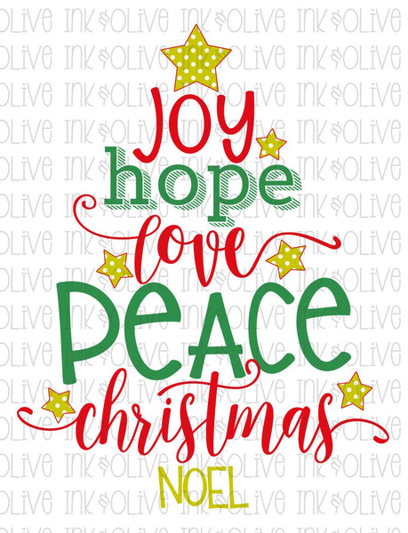 Christmas Tree Word Art Sublimation Transfer