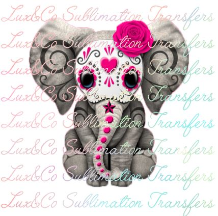 Sugar Skull Baby Elephant PINK Sublimation Transfer