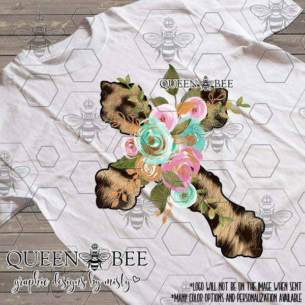 Floral Cheetah Cross Sublimation Transfer