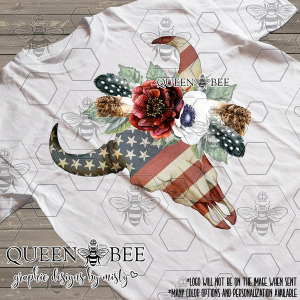 American Flag Boho Chic Floral Skull Sublimation Transfer