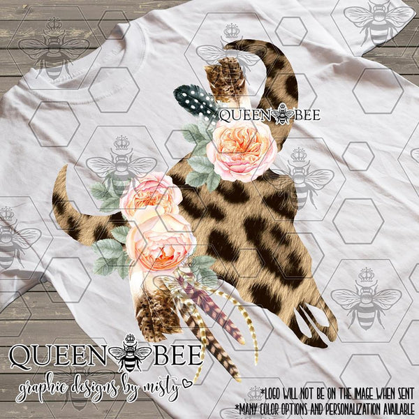 Cheetah Boho Chic Floral Skull Sublimation Transfer