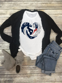 Houston Texans Football Rhinestone Heart Sublimation Transfer