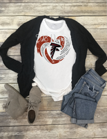 Atlanta Falcons Football Rhinestone Heart Sublimation Transfer