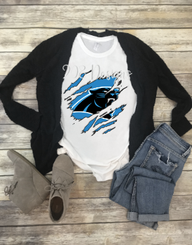 Carolina Panthers Shredded Claw Rip Sublimation Transfer