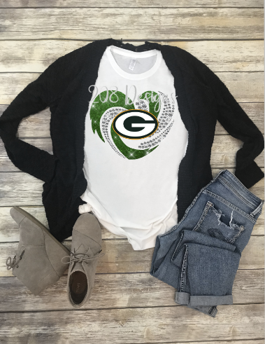 Green Bay Packers Football Rhinestone Heart Sublimation Transfer