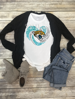 Jacksonville Jaguars  Football Rhinestone Heart Sublimation Transfer