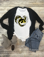 Iowa Hawkeyes  Rhinestone Heart Sublimation Transfer