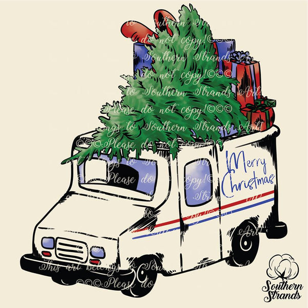 Christmas Tree Mail Truck Sublimation Transfer