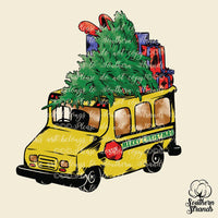 Merry Christmas School Bus Tree Sublimation Transfer