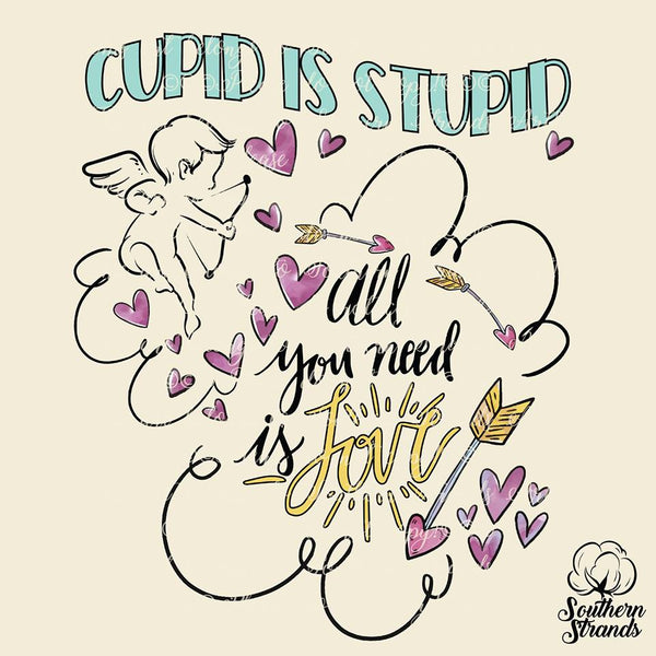 Cupid is Stupid All You Need is Love Valentines Sublimation Transfer