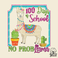 100 Days of School No ProbLlama Sublimation Transfer