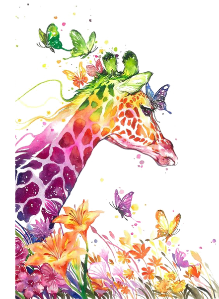 Giraffe Butterfly Flowers  Watercolor Sublimation Transfer