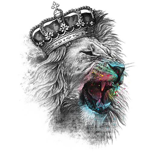 King Lion Watercolor Sublimation Transfer