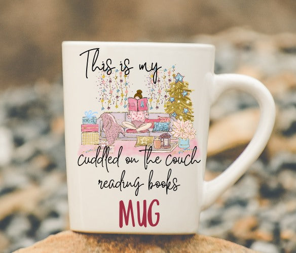 This is My Cuddled on the Couch Reading Books Mug Sublimation Digital Design PNG File