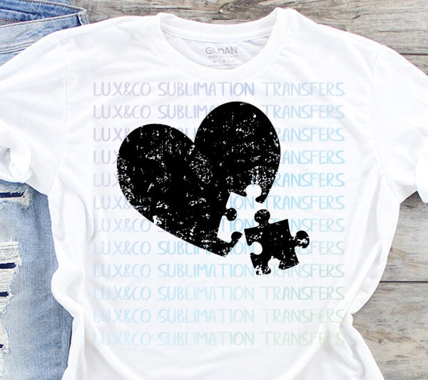 Distressed Heart Puzzle Piece Autism Sublimation Transfer