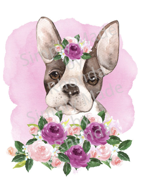 Boston Terrier Flowers Sublimation Transfer