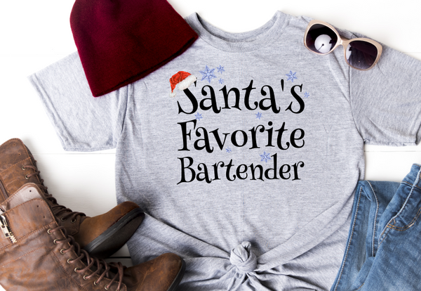 Santas Favorite Bartender BLACK Sublimation Transfer
