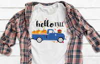 Hello Fall Vintage Truck Pumpkin Sublimation PNG Digital Design