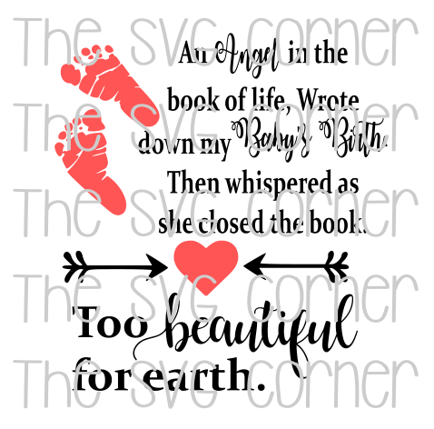 An Angel in The Book Of Life Baby Birth Too Beautiful for Earth SVG File