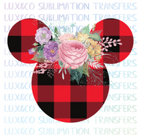 Buffalo Plaid Floral Mickey Head Sublimation Transfer