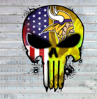 Vikings Punisher Skull Football American Flag Sublimation Transfer
