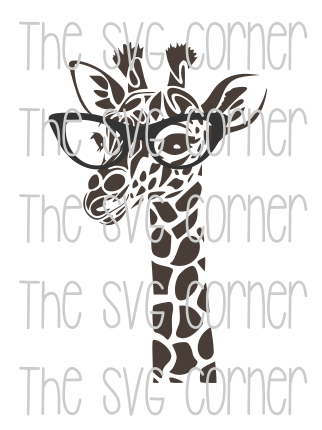Giraffe Wearing Glasses SVG File