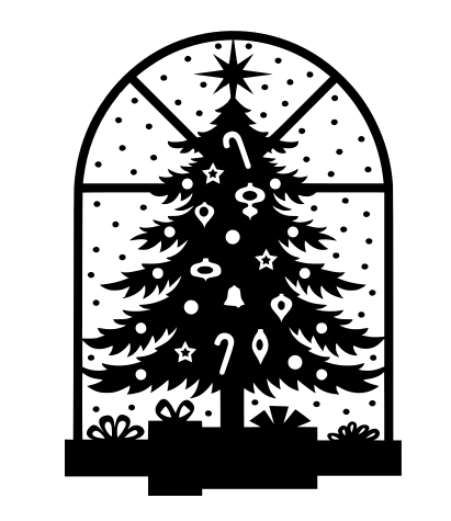 Window Tree Winter Christmas Holiday SVG File