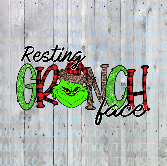 Resting Grinch Face Christmas Sublimation Transfer sale