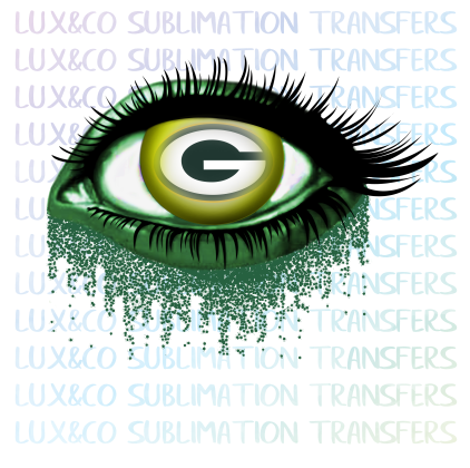 Green Bay Packers Glitter Eye Sublimation Transfer Lux Co