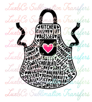 Kitchen Apron Word Art Sublimation Transfer