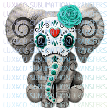 Sugar Skull Baby Elephant BLUE Sublimation Transfer