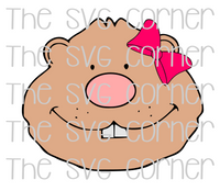 Groundhog Girl Face Bow SVG File