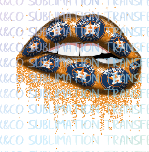 Houston Astros Glitter Dripping Lips Sublimation PNG Digital Design