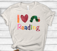 I Love Reading Hungry Caterpillar Sublimation PNG Digital Design