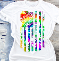 Community Corrections Tie Dye American Flag Sublimation Transfer