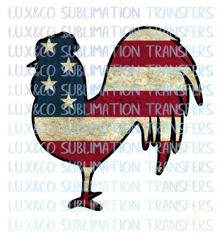 American Flag Rooster Sublimation Transfer