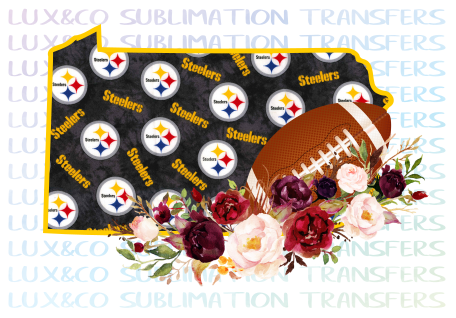 Pennsylvania Pittsburgh Steelers Flower Football State Sublimation Transfer