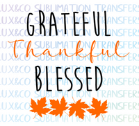 Grateful Thankful Blessed Fall Leaves SVG cutting file