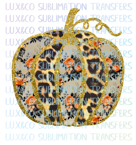 Leopard Halloween Glitter Floral Pattern Pumpkin Sublimation Transfer