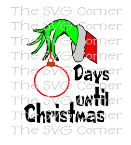 Nurse Christmas Svg.Grinch Hand Countdown Days Until Christmas Winter Holiday Svg File