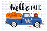 Hello Fall UK Basketball Vintage Truck PNG Digital Download File
